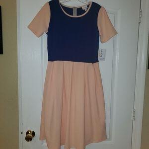 Lularoe L  Amelia Dress NWT Peach & Blue